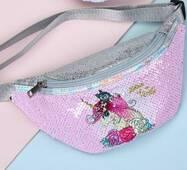 STK Поясна сумка з однорогом в паетках рожева