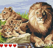 STK Картина по номерам Лев и семья, цветной холст, 40*50 см, без коробки Barvi
