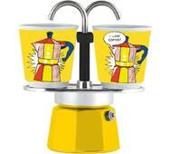 Подарунковий набір Bialetti Set Arte : гейзерна кавоварка Mini Express (2 cup)    2 кавових скляночки