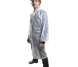 Халат поліетиленовий з капюшоном (білий)(фото)