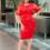 Жіночий костюм 20347 червоний