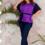 Жіночий костюм 21570 фіолетовий синій