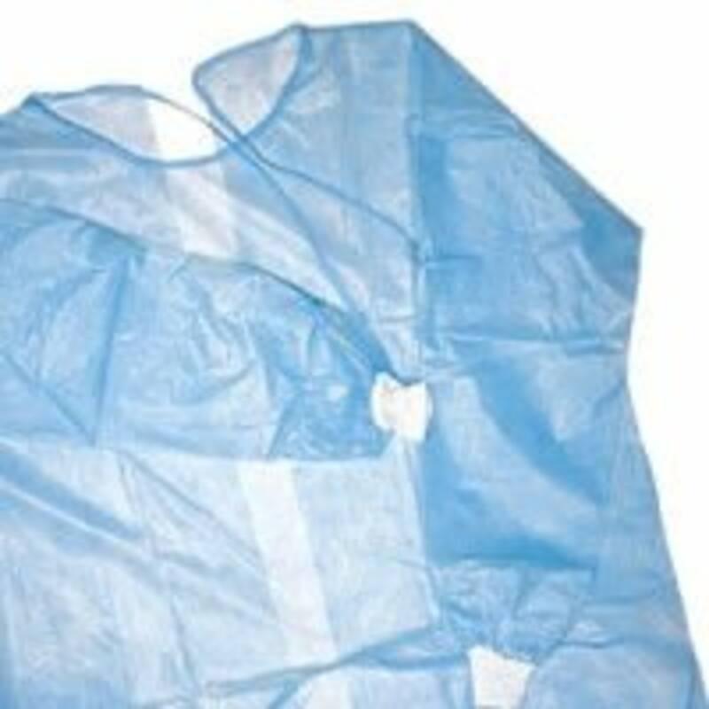 Халат одноразовый хирургический с манжетами на завязках (голубой)