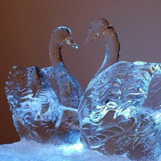 Ледяные скульптуры. Лебеди
