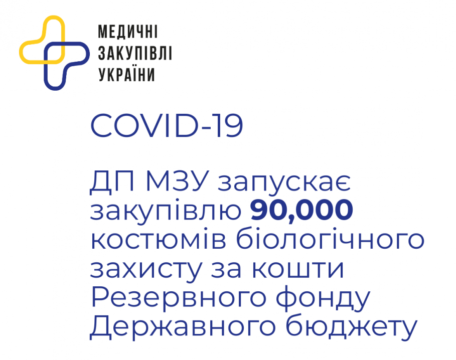 ДП «Медичні закупівлі України» запускає закупівлю 90,000 костюмів біологічного захисту