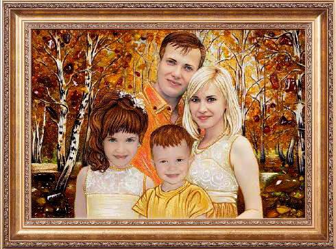 Сімейний портрет з бурштину Луцьк (фото)