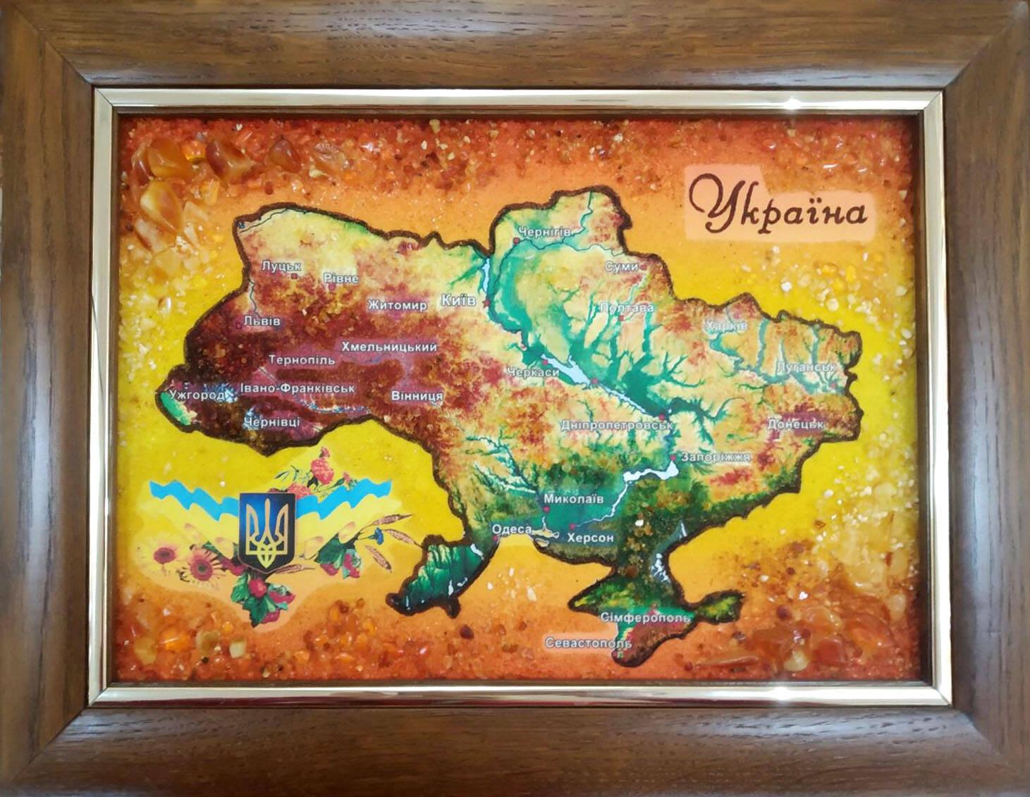 Карта України з бурштину купити (фото)