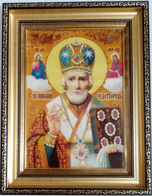 Икона Николай Чудотворец из янтаря купить (фото)