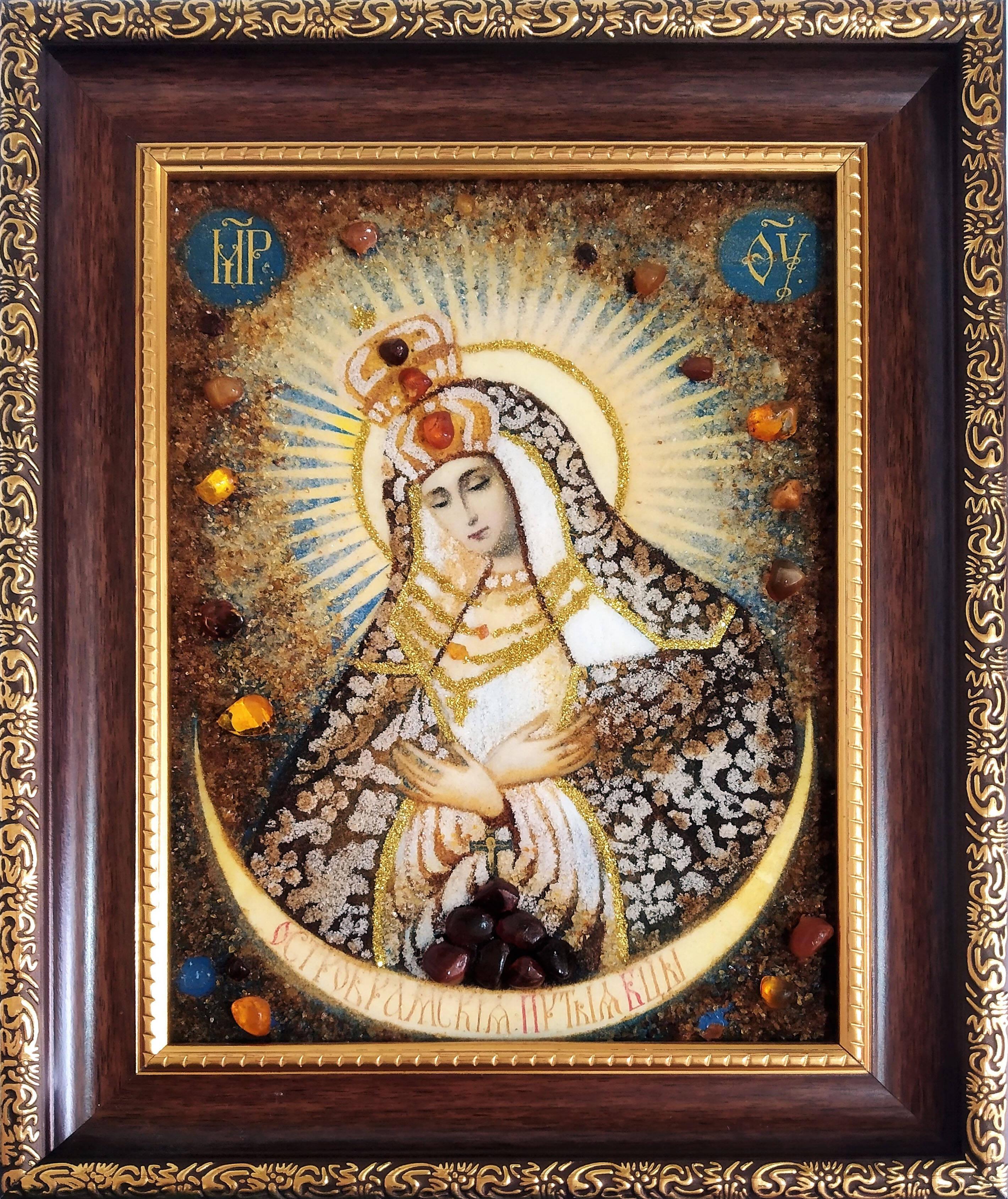 Икона из янтаря Остробрамская Богородица (фото)