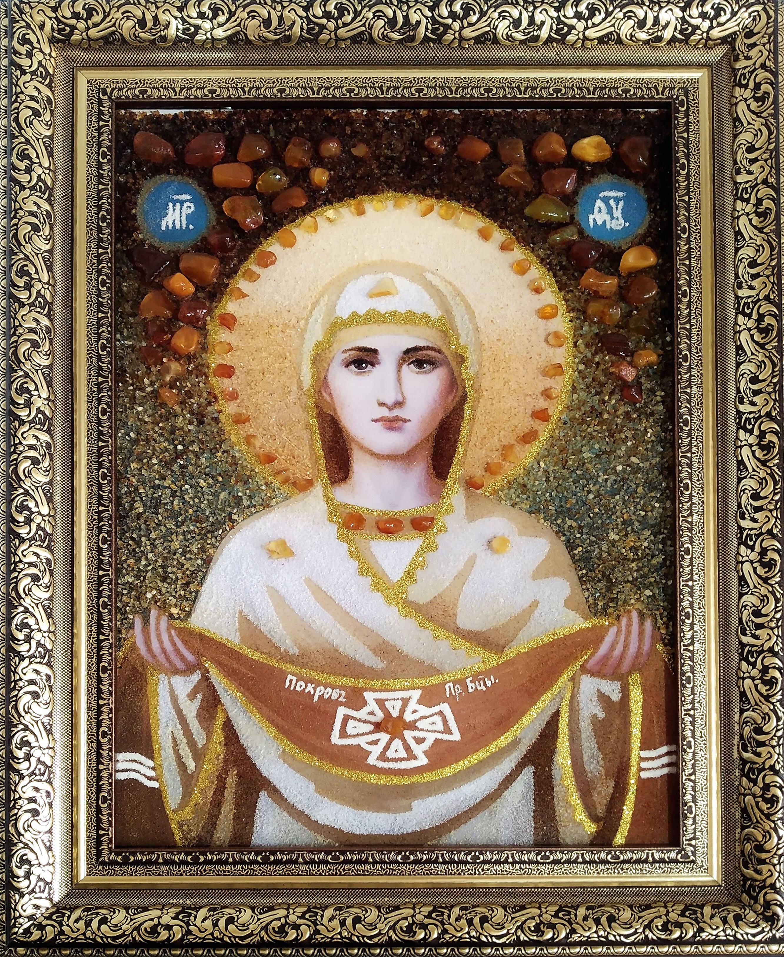 Икона Покрова Божей матери из янтаря купить (фото)