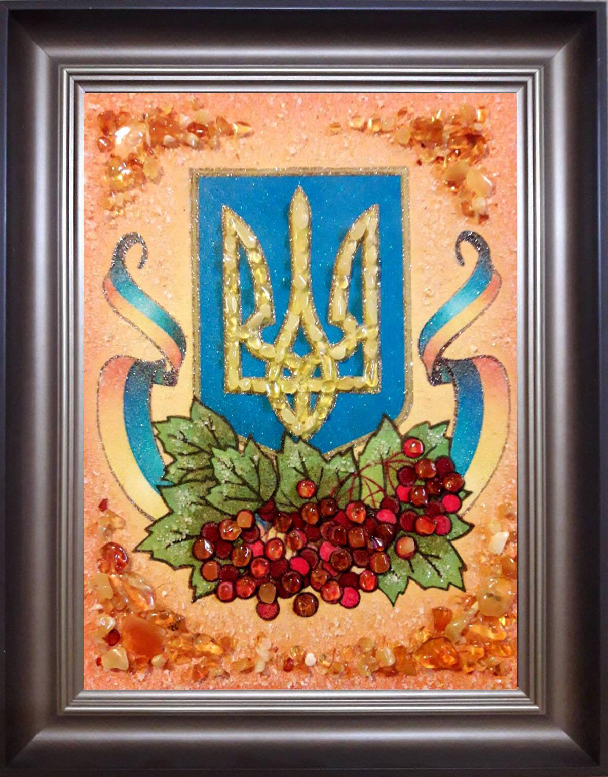 Герб і калина (Україна) купити з бурштину (фото)