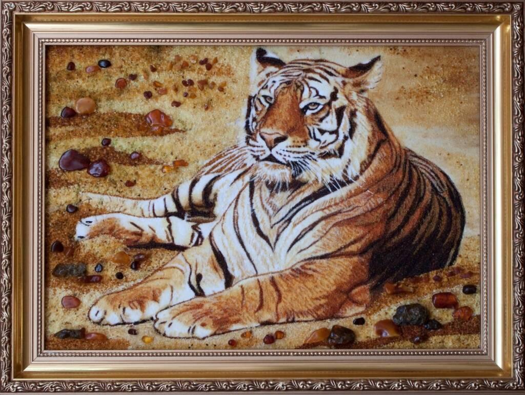 Картина из янтаря (Тигр)