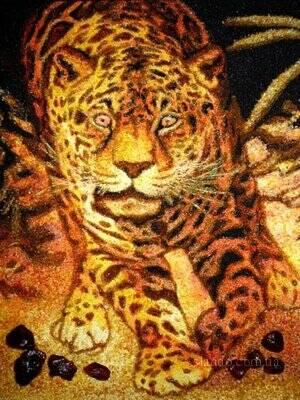 Картина из янтаря (Леопард)