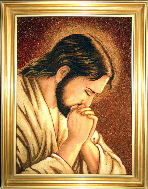 Иконы из янтаря: Иисус в молитве