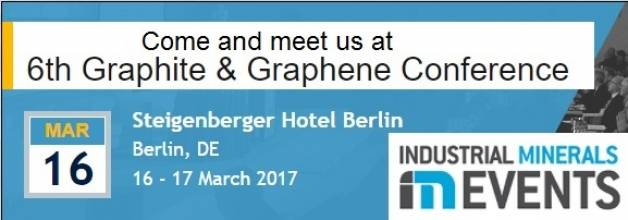 Come and meet us at 6th Graphite & Graphene Conference, Berlin, Germany, 16 - 17 March 2017